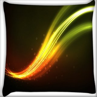 Snoogg Green Waves Design Digitally Printed Cushion Cover Pillow 16 x 16 Inch