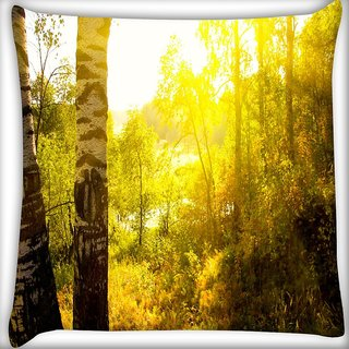 Snoogg Yellow Tree Digitally Printed Cushion Cover Pillow 16 x 16 Inch