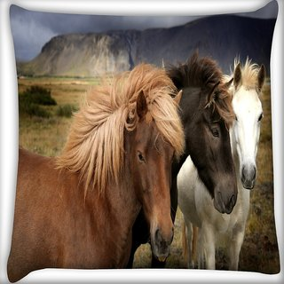 Snoogg Colorful Horses Digitally Printed Cushion Cover Pillow 16 x 16 Inch