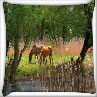 Snoogg Small Horses Digitally Printed Cushion Cover Pillow 16 x 16 Inch