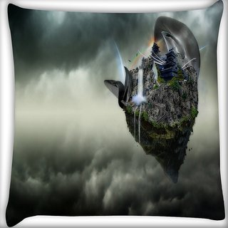 Snoogg Abstract Animated Earth Design Digitally Printed Cushion Cover Pillow 20 x 20 Inch