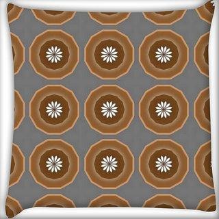 Snoogg Abstract Brown Circles Digitally Printed Cushion Cover Pillow 20 x 20 Inch