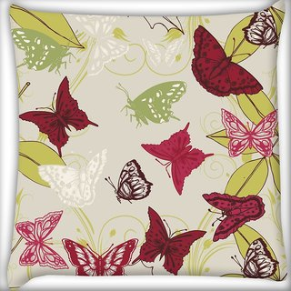 Snoogg Red Butterflies Digitally Printed Cushion Cover Pillow 20 x 20 Inch