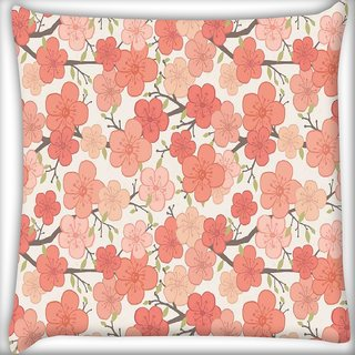 Snoogg Pink flower pattern Digitally Printed Cushion Cover Pillow 16 x 16 Inch