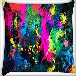 Snoogg Splash paints Digitally Printed Cushion Cover Pillow 16 x 16 Inch