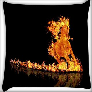 Snoogg Raging Horse Digitally Printed Cushion Cover Pillow 16 x 16 Inch
