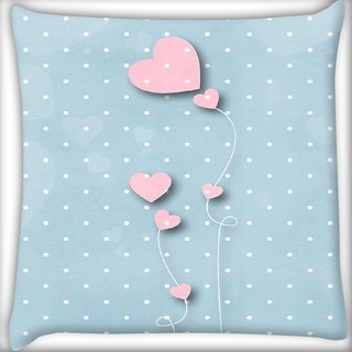 Snoogg Pink balloons blue dots Digitally Printed Cushion Cover Pillow 16 x 16 Inch