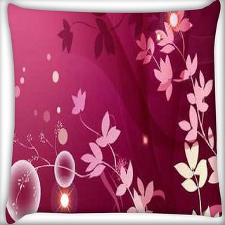 Snoogg Flower pink Graphic Digitally Printed Cushion Cover Pillow 16 x 16 Inch