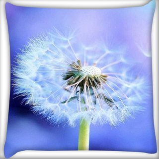 Snoogg White Dandelions Digitally Printed Cushion Cover Pillow 16 x 16 Inch