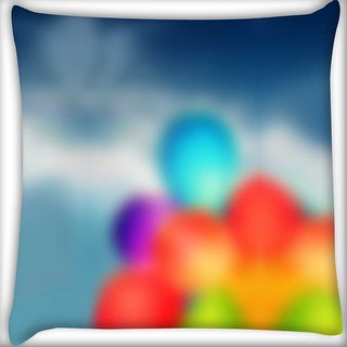 Snoogg air balloons Digitally Printed Cushion Cover Pillow 16 x 16 Inch