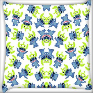 Snoogg alien blue cartoon cute Digitally Printed Cushion Cover Pillow 16 x 16 Inch