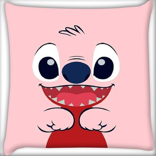 Snoogg Pink insert face Digitally Printed Cushion Cover Pillow 16 x 16 Inch