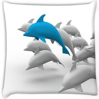 Snoogg  3d dolphins Digitally Printed Cushion Cover Pillow 16 x 16 Inch
