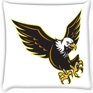 Snoogg  american bald eagle flying Digitally Printed Cushion Cover Pillow 16 x 16 Inch