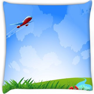 Snoogg  an airplane in the sky vecto  Digitally Printed Cushion Cover Pillow 16 x 16 Inch