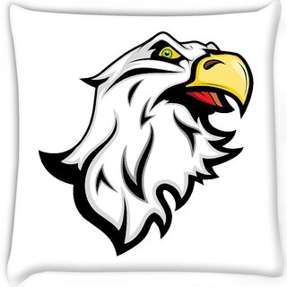 Snoogg  angry eagle mascot Digitally Printed Cushion Cover Pillow 16 x 16 Inch