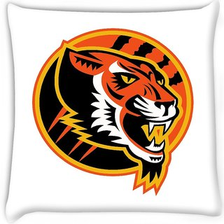 Snoogg  angry tiger side retro  Digitally Printed Cushion Cover Pillow 16 x 16 Inch