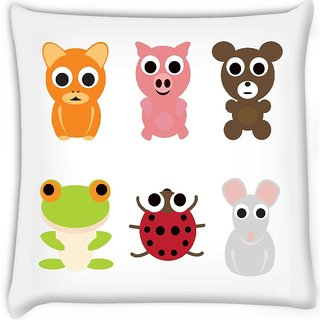 Snoogg  animal characters set  Digitally Printed Cushion Cover Pillow 16 x 16 Inch