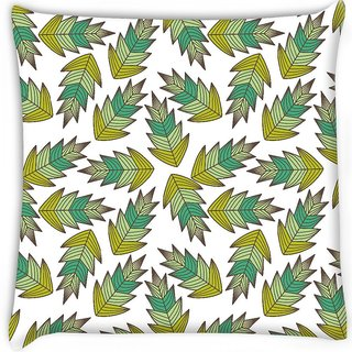 Snoogg  a seamless leaf pattern  Digitally Printed Cushion Cover Pillow 16 x 16 Inch