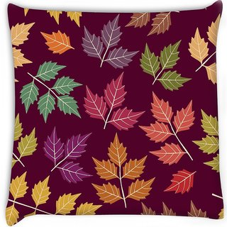 Snoogg  a seamless pattern with leaf Digitally Printed Cushion Cover Pillow 16 x 16 Inch