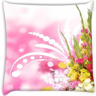 Snoogg  floral corner border with blurred background  Digitally Printed Cushion Cover Pillow 16 x 16 Inch