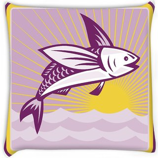 Snoogg  flying fish at sea ocean square retro Digitally Printed Cushion Cover Pillow 16 x 16 Inch