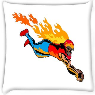 Snoogg  football touchdown flames Digitally Printed Cushion Cover Pillow 16 x 16 Inch