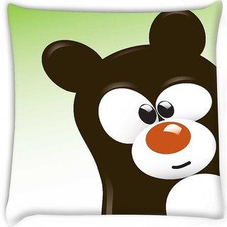 Snoogg  funny cartoon bear Digitally Printed Cushion Cover Pillow 16 x 16 Inch