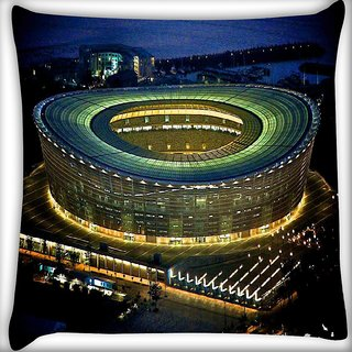 Snoogg Stadium At Night Digitally Printed Cushion Cover Pillow 16 x 16 Inch