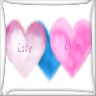 Snoogg Pink Love Digitally Printed Cushion Cover Pillow 16 x 16 Inch