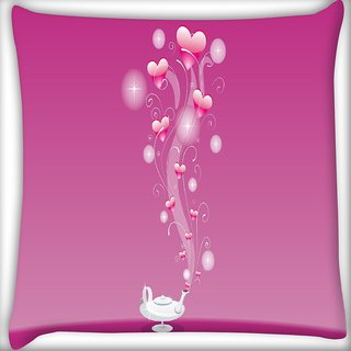Snoogg Abstract Pink Heart Digitally Printed Cushion Cover Pillow 16 x 16 Inch