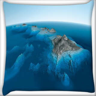 Snoogg Blue Water Sea Digitally Printed Cushion Cover Pillow 16 x 16 Inch