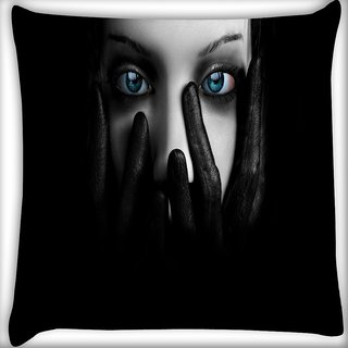 Snoogg Lady Eyes Digitally Printed Cushion Cover Pillow 16 x 16 Inch