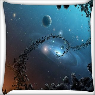 Snoogg Galaxy Digitally Printed Cushion Cover Pillow 16 x 16 Inch