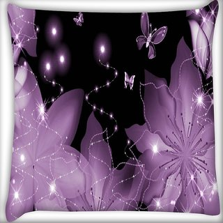 Snoogg Floral Butterfly Digitally Printed Cushion Cover Pillow 16 x 16 Inch