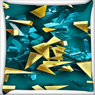 Snoogg Golden And Blue Pieces Digitally Printed Cushion Cover Pillow 16 x 16 Inch