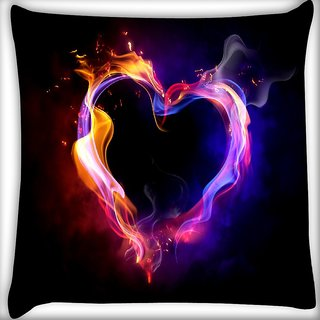 Snoogg Abstract Heart Digitally Printed Cushion Cover Pillow 16 x 16 Inch
