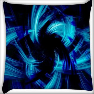 Snoogg Abstract Blue Smoke Digitally Printed Cushion Cover Pillow 16 x 16 Inch