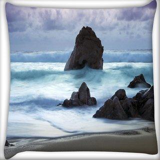 Snoogg Beach View Digitally Printed Cushion Cover Pillow 16 x 16 Inch