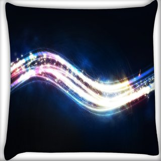 Snoogg Sparkling Waves Digitally Printed Cushion Cover Pillow 16 x 16 Inch