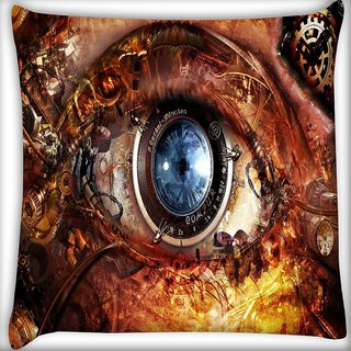 Snoogg Mechanism Of Eye Digitally Printed Cushion Cover Pillow 16 x 16 Inch