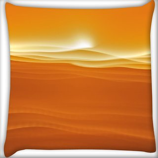 Snoogg Sandy Sunset Digitally Printed Cushion Cover Pillow 16 x 16 Inch