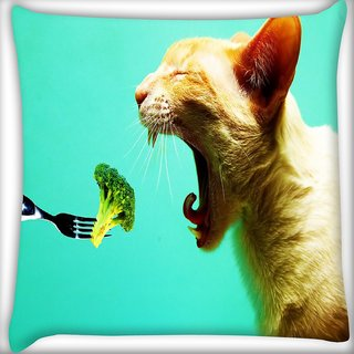 Snoogg Cat Eating Broklyn Digitally Printed Cushion Cover Pillow 16 x 16 Inch