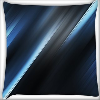 Snoogg Blue And Grey Layers Digitally Printed Cushion Cover Pillow 16 x 16 Inch