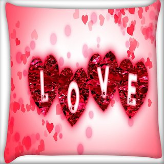 Snoogg Heart Of Love Digitally Printed Cushion Cover Pillow 16 x 16 Inch