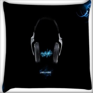 Snoogg Live For Music Digitally Printed Cushion Cover Pillow 16 x 16 Inch