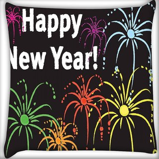 Snoogg Happy New Year Digitally Printed Cushion Cover Pillow 16 x 16 Inch