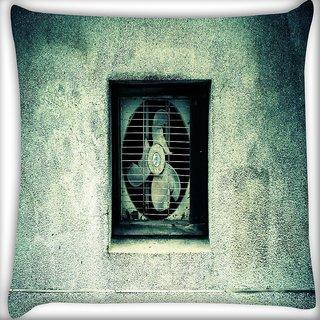 Snoogg Broken Ventilation Fan Digitally Printed Cushion Cover Pillow 16 x 16 Inch