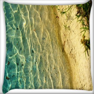 Snoogg Clear Sea Beach Digitally Printed Cushion Cover Pillow 16 x 16 Inch