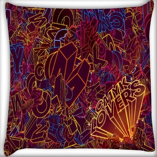 Snoogg Cmyk Lovers Digitally Printed Cushion Cover Pillow 16 x 16 Inch